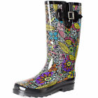 Womens Printed Waterproof Wellies  Buckle Rain Boots