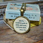 """Peter Pan Quote """"All the world ... Pixie Dust"""" picture pendant necklace 20mm"""