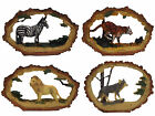 Hand Painted Wild Animal Ornaments 17cm Wide Wooden Effect Lion Wolf Zebra Tiger
