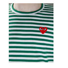STRIPED Comme Des Garcons CDG Play Men's RED HEART Long Sleeve Shirts