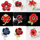 2017 Latest Banquet Flower Crystal Poppy Brooches Pins Badge Hero Souvenir Gifts