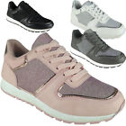 Ladies Running Trainers Womens Lace Up Flat Comfy Shimmer Gym Sports Shoes Size