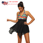 US Colorful Plus Size Halter Tankini Sheer Swimdress Swimsuit Swimwear Padded