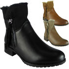 Womens Ladies Fur Lining Zip Low Heel Office Work Biker Ankle Boots Shoes Size