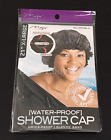 "BLACK 21"" XLarge WaterProof SHOWER CAP Premium Elastic With Band For Perfect Fit"