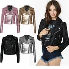 New Ladies Women's Vintage Slim Fit Biker Style Zip PU Leather Jacket Top