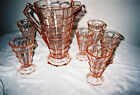 Tearoom pitcher and 6 tumblers pink deppression glass by Indiana