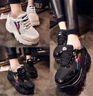 Womens 2015 Chic High Platform Lace Up Trainers Sneakers Shoes Black/White A-33