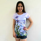 ATMZ Claude Monet Lilac Irises Lady Top Tee T-Shirt Fine Art All Over Print