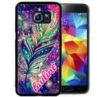 PERSONALIZED RUBBER CASE FOR SAMSUNG S8 S7 S6 S5 EDGE PLUS AZTEC FEATHER SPACE