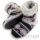 Ladies / Womens Knitted Style Slipper Boot / Booties with Faux Fur Trim