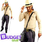 Safari Adventurer Adults Fancy Dress Indiana Travel Jungle Explorer Mens Costume