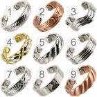 New Mens Ladies COPPER CHROME GOLD plated SISTO-X MAGNETIC RING Adjustable BIO