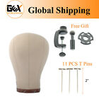 GEX Cork Canvas Block Head Mannequin Display Head for Wig Making with Mount Hole