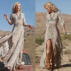 Women Summer Boho Chiffon Party Evening Beach Dresses Long M