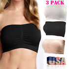 NEW Yoga Crop Strapless Stretchy Removable Padded Bandeau Bra Tube Top Plus Size