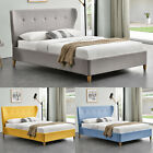 Fabric Upholstered Modern Winged Headboard Bed Grey/Yellow/Blue Double/King Size