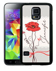 PERSONALIZED RUBBER CASE FOR SAMSUNG NOTE 3 4 5 SINGLE RED POPPY FLOWER