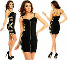 Womens Black Wet Leather Look Bodycon Club Party Mesh Mini Dress size 8 10 12