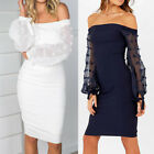 Us Women Long Sleeve Bodycon Casual Party Evening Cocktail Short Mini Dress