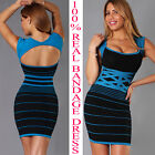 Womens New Sexy Black Deep Blue Keyhole Bandage Dress Bodycon Hot New
