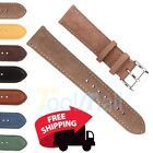 Suede Genuine Leather Watch Strap Band Teacher Stainless Steel Buckle and Bars image