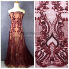 New wine heavy handmade beaded bridel evening/party dress lace fabric by yard