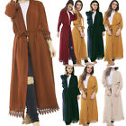 women ladies Crepe Pleat long kimono/open abaya/maxi style/lace belted cardigan for sale  Shipping to United States