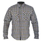 OXFORD KICKBACK KEVLAR MOTORCYCLE SHIRT KHAKI & WHITE FREE UK DELIVERY