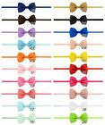 UK SELLER Baby Girl Bow Headband Skinny Elastic 20 colours Pink White Navy NEW!
