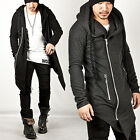NewStylish Mens Striking Asymmetric Thick Rope Strap Accent Long Zip-up Hoodie
