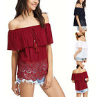Women Sexy Off Shoulder Lace Summer Casual Loose Beach Tops Blouse T-shirt Shirt