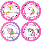 Personalised Unicorn Party stickers For Sweet Cones etc, 3 Sizes - Ref MX08-28