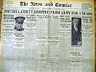 Best 1925 headline display newspaper COURT MARTIAL of BILLY MITCHELL - Guilty !