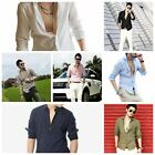 New Hot Spring Men Casual Leisure Slim Linen Blend Long Sleeve Shirt Tops