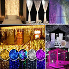 96-1500 LED Fairy String Hanging Icicle Snow Curtain Light Outdoor Xmas Party LA
