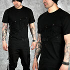 NewStylish mens tops short Diagonal front eyelet accent black round slim t-shirt