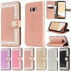 Flip PU Leather Stand Holder W/Diamond Wallet Card Case Cover For iPhone 5 6 7 X