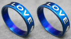 R079S fashion unisex LOVE blue stainless steel ring you pick size Hot charm New
