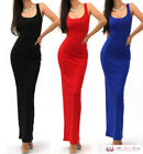 Womens Sexy Summer Black Sleeveless Scoop Neck Bodycon Long Maxi Party Dress