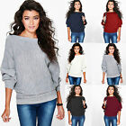Womens Loose Knitted Batwing Sleeve Jumper Sweater Casual Knitwear Tops Blouse