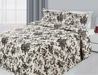3 Piece Reversible Quilted Printed Bedspread Coverlet - Black Flowers image