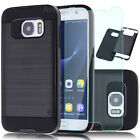 Black Shockproof Hybrid Rubber Cover Case +Glass Film For Samsung Galaxy S7/Edge