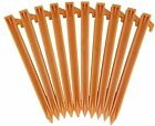 "USA MADE 10"" YELLOW PLASTIC TENT STAKES WITH ROPE HOOK CHOICE OF 10 OR 85 PCS"