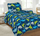 Kids Bedding Quilt Set Twin Size Bed Cover Bedspread Boys & Girls Printed Covers