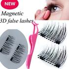 4Pcs Magnet Eyelashes 3D False Eye Lashes & Tweezers Makeup Comestic Tools