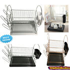 LUXURY 2 TIER DISH DRAINER - DISH RACK WITH DRIP TRAY AND CUTLERY HOLDER