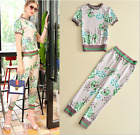 Occident round neck fresh Printed top+leisure trousers fashion suit shirt pant