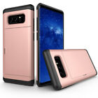 Hybrid Armour Hard PC Credit Card Holder Slide Case For Samsung Galaxy Note 8/S8