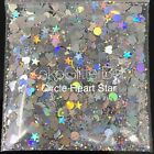 Silver Rainbow Holographic Holo Glitter Mix Chunky Hex Dot Star Nail Art Face